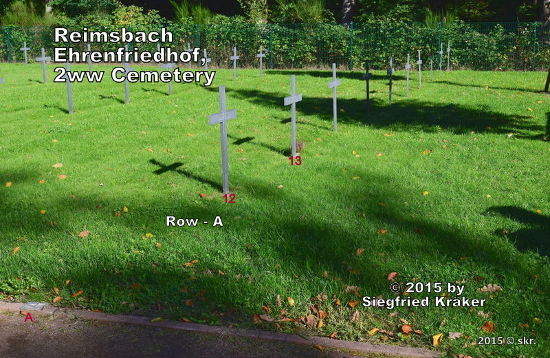 Reimsbach, Soldiers graveyard,  tombes de guerre, Row - A, right side, Grave-12 - 21