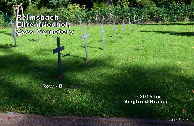 Reimsbach, Soldiers graveyard,  tombes de guerre, Row - B, right side, Grave-11 - 19